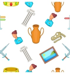 Going to museum pattern cartoon style vector image