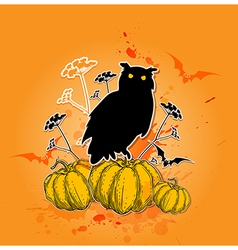Halloween background with silhouette of owl vector image