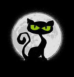 halloween comic icons - black cat against moon vector image