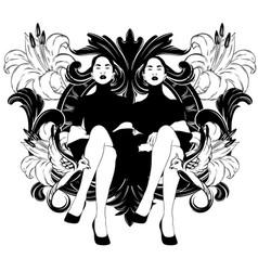 hand drawn sitting ladies vector image