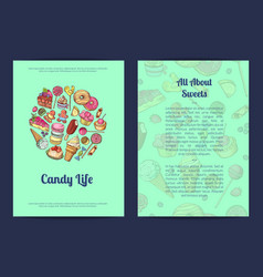 Hand drawn sweets pastry shop or vector