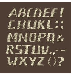 Handwritten Chalk Alphabet on Brown Background vector image