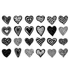 heart hand draw doodle love sketch icon set vector image