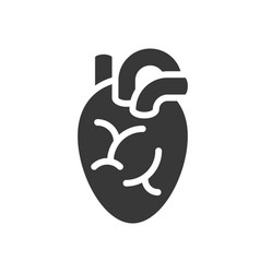 Heart organ healthcare and medical related solid vector