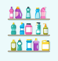 household cleaner products and laundry goods on vector image