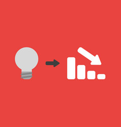 Icon concept of grey light bulb with sales bar vector