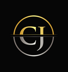 initial gold and silver color cj letter logo vector image