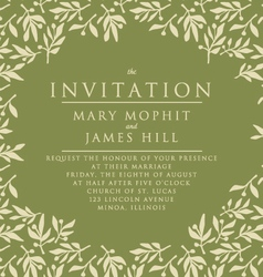 Invitation with pattern olive branch vector image