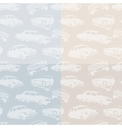 Isolated abstract white color retro cars on the vector