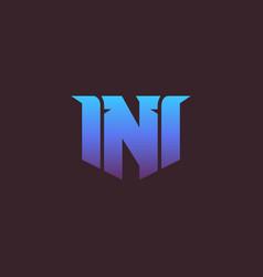 letter n game logo on dark background e-sport vector image
