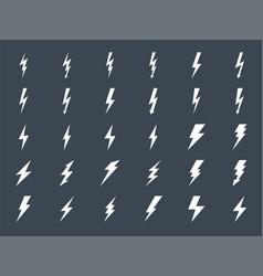 lightning gluph icons set vector image