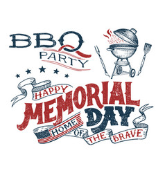 memorial day greeting card barbecue invitation vector image