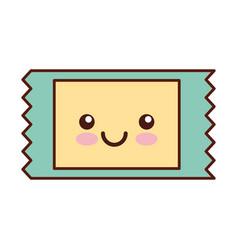 movie ticket kawaii character vector image