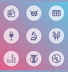 music icons line style set with harp gramophone vector image