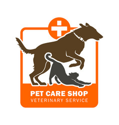 Pet veterinary service icon with dog and cat vector