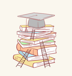 Pile stack ladder graduation academic cap books vector