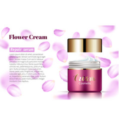pink cream bank on soft background falling petals vector image vector image