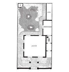 plan of detached villa and garden semi-detached vector image