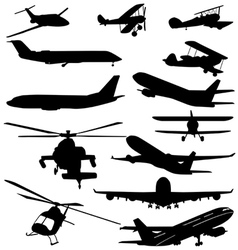 PLANES AND HELICOPTERS vector image