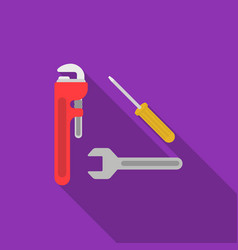 Plumbing tooles icon in flat style isolated on vector