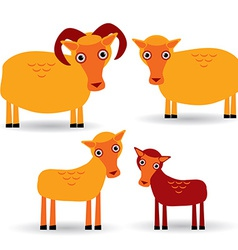 Ram ewe and lamb Set of funny animals with cubs on vector image