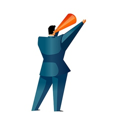 Rear view of man holding megaphone vector