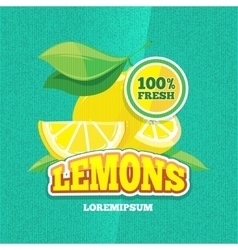 retro poster with juicy fresh lemon vector image