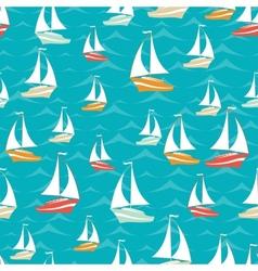 Retro seamless travel pattern of yacht vector
