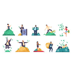 Rich people flat happy characters throwing vector