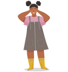 sad small girl standing and closed her eyes and vector image