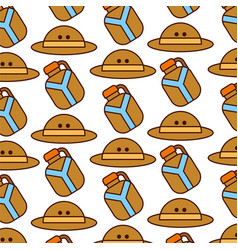 Safari canteen and hat pattern vector