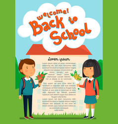 schoolboy and schoolgirl with welcome text vector image