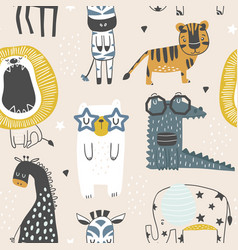 Seamless childish pattern with cute animals in vector
