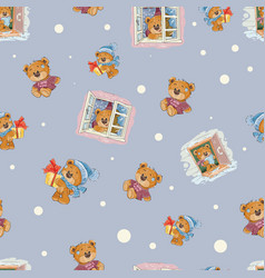 Seamless pattern with a cute brown teddy vector
