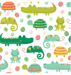 Seamless pattern with reptile and amphibian vector