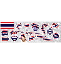 Set national flag thailand in vector