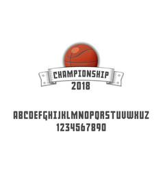 set of basketball - badge logo and font vector image