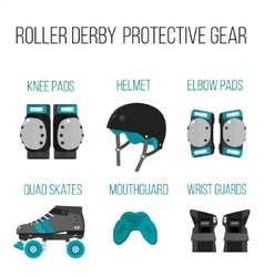 set of flat roller derby protective gear vector image