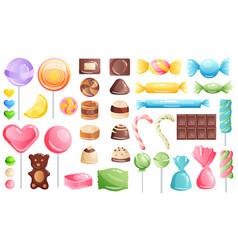 Set sweets on white background - hard candy vector