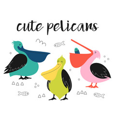 set with cute cartoon pelicans vector image
