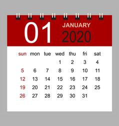 simple desk calendar for january 2020 vector image