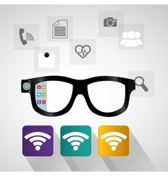 Smart glasses wearable technology internet social vector