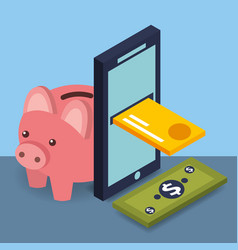 smartphone credit card banknote and piggy bank vector image