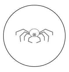 spider the black color icon in circle or round vector image