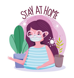 Stay at home young woman with protective mask vector