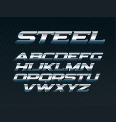Steel font metal letters set chrome alphabet vector