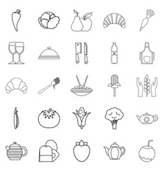 Tea plantation icons set outline style vector