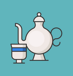 Tea pot and cup filled outline icon vector