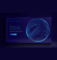 Technology cloud world globe network fintech vector