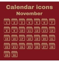 The calendar icon November symbol Flat vector